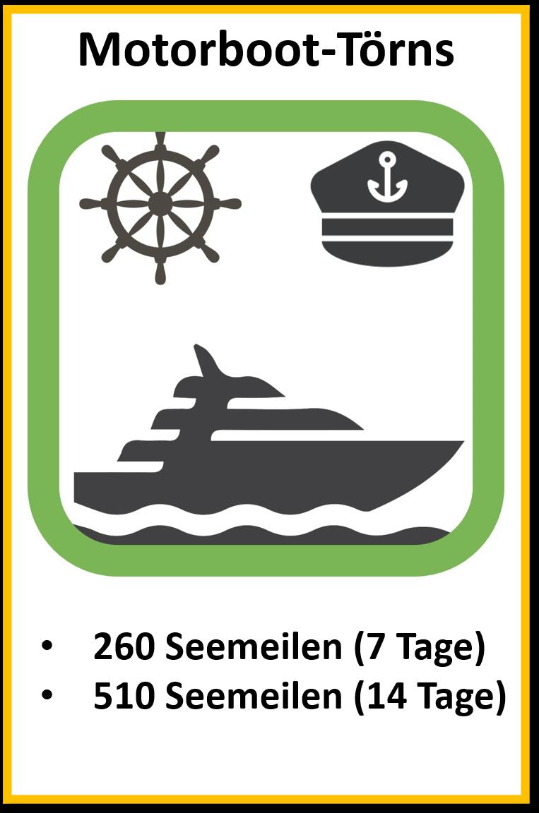 Meilentörns Motorboot 260Seemeilen und 510Seemeilen