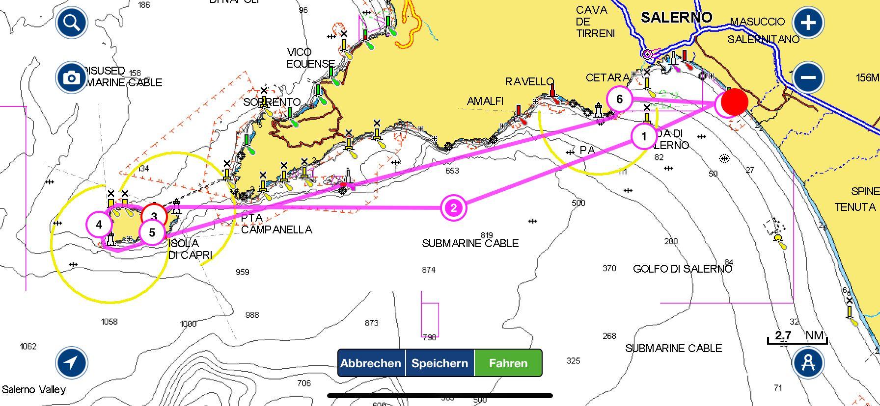 Routenplanung Meilentörn Motorboot September 2021